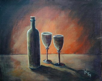 wine bottle and glasses, an original acrylic painting in red/orange
