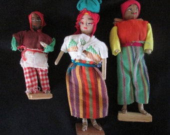 3 Original Primitive Vintage Family of Folk Art Dolls Hand Made Circa 1950s