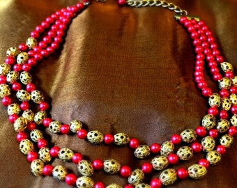 Vintage Victorian Era Inspired Festoon Faux Hot Pink Multi-String Pearl and Filagree Beaded Necklace