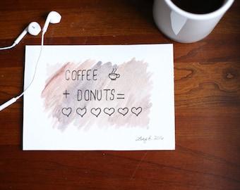 "Coffee and Donuts Original Art 5""x7"""