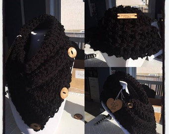 Crochet Chunky Neck Warmer Cowl Scarf with Coconut Buttons