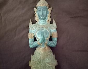 Antique Bronze & Gold kneeling Teppanom Guardian Angel Statue