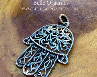 Moroccan Khamsa Sterling Silver Pendant, 'Hamsa', Hand of Fatima Talisman Traditional Tribal pendant