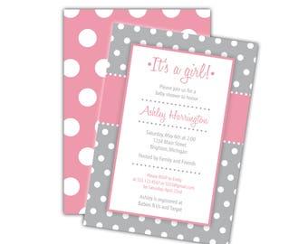 Baby Shower Invitation Girl | 5x7 Printable Invitation | It's a Girl Printing Baby Shower Invite | Pink Polka Dot