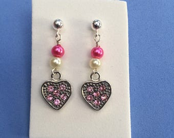 Heart dangle earrings- sterling silver pink earrings- kids stainless steel dangle earrings- girls heart pink post earrings