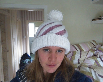 Hand Knitted Swirled Ski Cap Winter Hat with Pompom