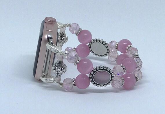 """Apple Watch Band, Women Bead Bracelet Watch Band, iWatch Strap, Apple Watch 38mm, Apple Watch 42mm, Pink Cat's Eye Size 7"""" - 7 1/4"""""""
