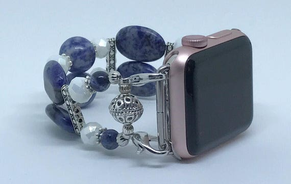 "Apple Watch Band, Women Bead Bracelet Watch Band, iWatch Strap, Apple Watch 38mm, Apple Watch 42mm, Medium Blue Size 6 1/4"" To 6 1/2"""