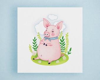Pig Illustration Print - Farm Animal Print, Nursery Wall Art, Cute Animal Print, Pig Print, Animal Art Print, Square Print, Kids Room Decor