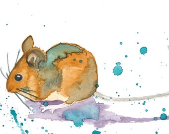 Mouse fine art print. Watercolor print