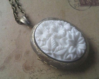 XL Locket necklace ~ white flowers ~ ~ bronze ~.