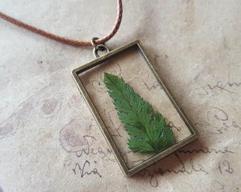 Fern leaf glass necklace ~ bronze ~.
