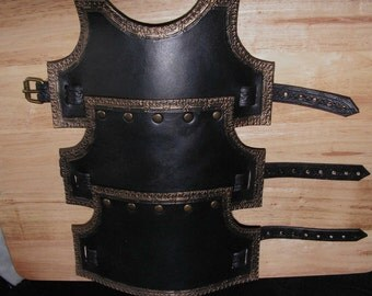 Black/Charcoal Grey with Bronze Highlights Arm Bracer Left or Right, LARP, Role Playing