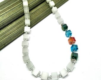 Short necklace multi colored white with colorful sparkly beads cube chain CatEye beads charmingly stylish and versatile portable bling necklace apart