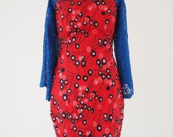 DandDbespoke Authentic Ankara Dress// Red Ankara Dress// Lace Bell Sleeves//  African Print Dresses