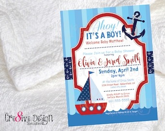 Ahoy It's A Boy, boy baby shower, baby shower, nautical baby shower, boat baby shower, boat and anchor, blue baby shower, blue and red