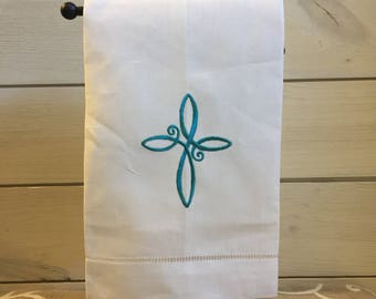 Easter Cross Hand Towel - Embroidered Hand Towel - Easter Guest Bathroom Hand Towel - Religious Guest Bathroom Hand Towel