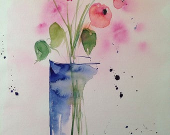 "Watercolour ""Flowers in the vase"" unique, flowers, nature, 30 x 40 cm"