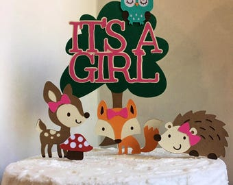 Woodland baby shower CakeTopper, woodland baby shower Cake Decoration, woodland It's A Girl cake topper, Woodland animal theme baby shower