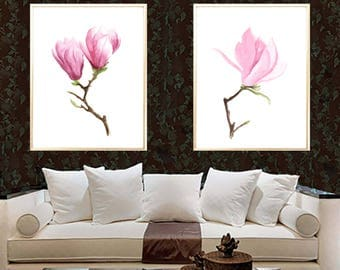 Magnolia art print Magnolia set of 2 Botanical watercolor print Magnolia wall decor Magnolia poster decor art Magnolia wall decor