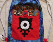 String Backpack Chaos Kitty Cotton Blue Flower Print