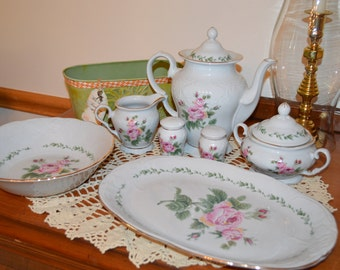 "Farmhouse, cottage chic, country, rustic, vintage Gibson ""My Mother's Rose"" dinnerware"
