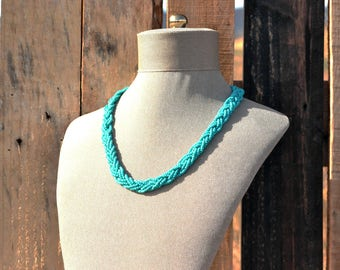 Turquoise Beaded Braided Necklace