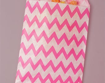 """12 Hot Pink Chevron Paper Bags. Grocery Bags. Party and Candy Bags. 5 1/8 x 6 3/8"""". Favor Bags."""