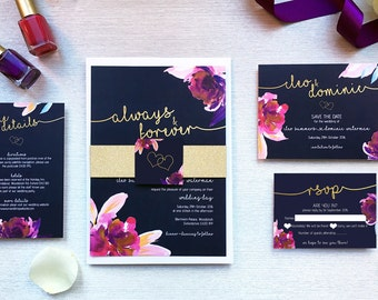Dusky Blooms // customisable modern purple floral wedding invitation suite