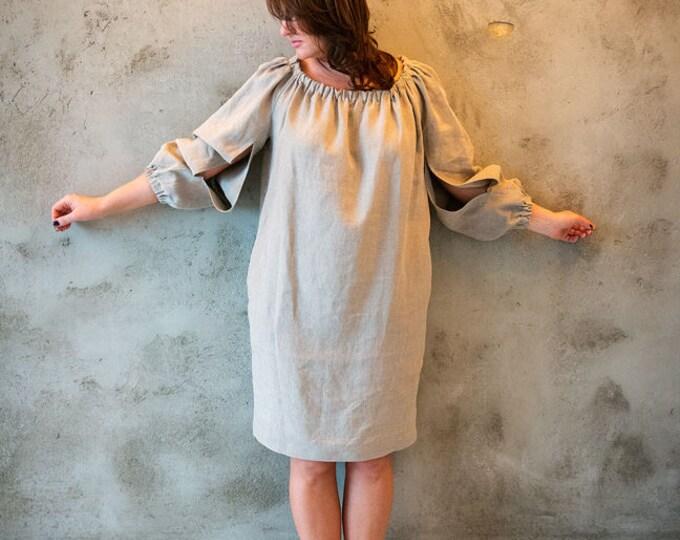 Linen dress, Dark natural linen dress, Long linen dress, Brown linen dress, Oversize linen dress, Plus size linen dress, Oversize dress