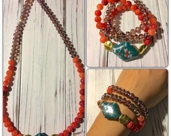 Triple wrap bracelet / long necklace