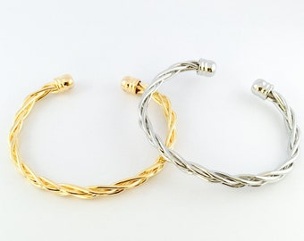 Gold Braided Bracelet, White Gold Braid Cuff, Bracelets For Women, Bangle Bracelet, Gift For Her, Bridesmaid Gift, Fashion Jewelry
