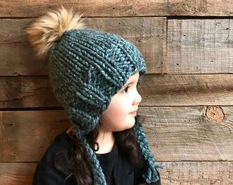 Kids Beanie Knitting Pattern- Earflap Hat Pattern- Kids Hat Knit Pattern- Faux Fur Pom Hat- Pom Hat Knitting Pattern- Trapper Hat- Pattern