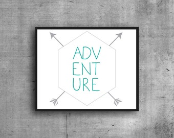 Adventure Digital Print, Art Print, Graphic Print, Digital Art, Wall Decor