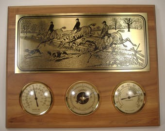 Weather Station Thermometer, Barometer, Hygrometer Highline West Engraved Horses and Dogs Wall Hanging