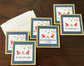 Set of 6 mini cards CAMPING themed, under-the-stars, 3x3 size, perfect for little notes