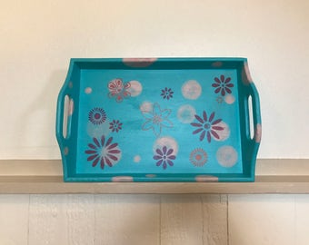 Hand painted serving tray, retro kitchenware, flowers