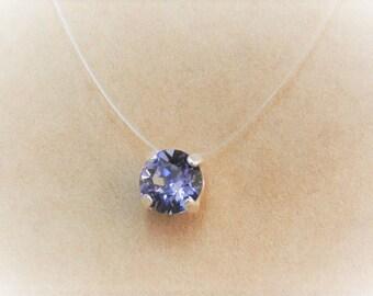 Ras collar to neck in transparent fishing wire, 6 mm Crystal SWAROVSKI ELEMENTS rhinestones