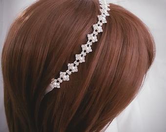 Wedding headpiece, headband, Rhinestone Headband, Wedding Headband, Bridal Headband, Bridal Headpiece, Rhinestone Headbands, Ribbon