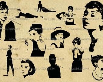 Digital SVG PNG JPG Audrey Hepburn, silhouette, vector, clipart, instant download