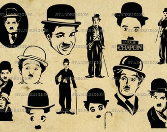 Digital SVG PNG JPG Charlie Chaplin, silhouette, vector, clipart, instant download