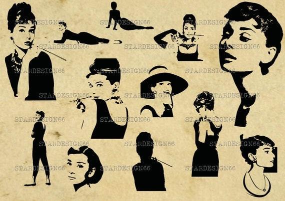digital svg png jpg audrey hepburn silhouette vector