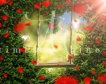 Digital Backdrop/Background with Props Photography Background for Photoshop, Valentines Day, Roses and Swing, Photo Editing