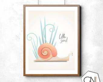 Snail print, snail, nursery decor, nursery wall art, nursery art, illustration, wall art, wall decor, art prints, insect art, insect print