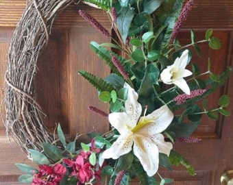 Grapevine Wreath with Eyeliner Lily and Red Wisteria