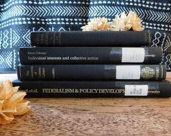 SALE Black and gold books. Decorative book set. Vintage books. Antique book set. Rustic decor. Farmhouse decor.