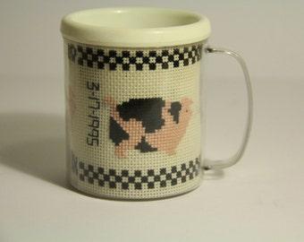 Vintage Hand Stitched Pig Mug