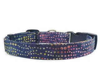 Dog Collar, Puppy Collar, Martingale Collar Style Available, Navy Blue with Colorful Raindrops, Adjustable, Made to Order