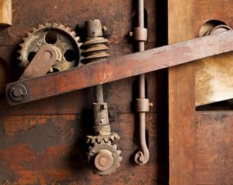 "Fine art photography color photograph gears machine tool farm mechanical rustic wall art home decor print ""Gears"""