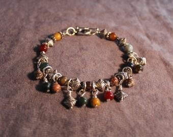Gemstone Beaded Dangle Bracelet